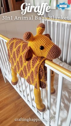 Giraffe Baby Blanket, a cute blanket that folds into a toy & can be used as a playmat or decoration for the nursery. Crochet Pattern by Crafting Happiness #crochetblankets #crochetafghans #crochetstitches #crochetpatterns #crochetanimals #crochetforchildren #crochetprojects #crochetbaby #babyblankets Crochet Animal Patterns, Crochet Blanket Patterns, Baby Blanket Crochet, Baby Knitting Patterns, Crochet Animals, Baby Patterns, Free Christmas Crochet Patterns, Crocheted Baby Blankets, Crochet Pattern Free