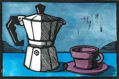 Moka Pot - Original Linocut Print on Etsy, $45.43 AUD