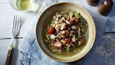"""This easy vegetarian lentil stew is served with cherry tomatoes and cinnamon-flavoured almonds.  This meal is <a href=""""http://www.bbc.co.uk/food/collections/low-calorie_recipes"""">low calorie</a>  and if served as four portions provides 351 kcal, 20g protein, 37g carbohydrate (of which 7.5g sugars), 14g fat (of which 1.5g saturates), 11.5g fibre and 1.9g salt per portion."""