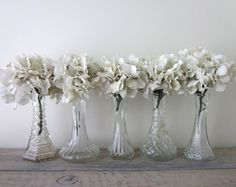 Vintage Clear Glass Bud Vases Set of Five Small   by 22BayRoad