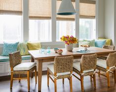 House of Turquoise: Andrew Howard Interior Design Cottage Dining Rooms, Dining Room Furniture, Dining Chairs, Dining Table, Wicker Chairs, Kitchen Chairs, Wood Table, Furniture Ideas, House Of Turquoise