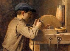 A Young Boy Grinding Scissors - Louis-Emile Adan (1839 – 1937, French)