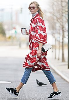 Proving that your adidas Gazelles can also be styled to win major chic points, Karlie Kloss partners hers with an oversized patterned kimono – ideal for owning this season's Global Rhythm trend, too