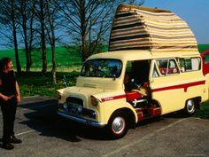 Modern Day Gypsy with His Antique Bedford Camper Van by Silbury Hill, Avebury, Wiltshire, England