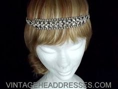 Great Gatsby Vintage Art Deco 1920's Flapper Drape Forehead Band  - OOAK Bridal Headpiece - Wedding Circlet