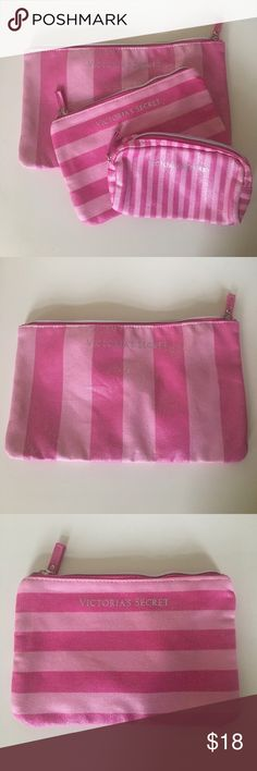 3 Victoria's Secret make up bags 3 shimmery pink make up bags. All zip close. Never been used. Victoria's Secret Bags Mini Bags