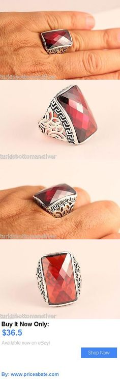 Men Jewelry: Turkish Jewelry Mens Ring Handmade Ottoman Red Garnet 925K Silver Size 10 BUY IT NOW ONLY: $36.5 #priceabateMenJewelry OR #priceabate
