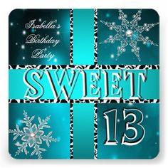 Sweet 13 13th Birthday Purple Winter Wonderland Card 13th birthday