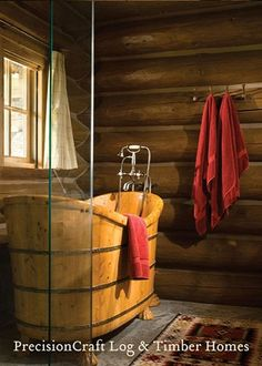 At least wood is warm, right?   How cool is this tub!