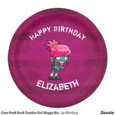 Cute Punk Rock Zombie Girl Happy Birthday Paper Plate  sc 1 st  Pinterest & Ooh La La Paris Eiffel Tower on Vintage Pattern Paper Plate ...