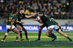 Kieran Read of New Zealand is tackled by Pieter-Steph du Toit of South Africa during The Rugby Championship match between the New Zealand All Blacks and the South Africa Springboks at Westpac Stadium on September 2018 in Wellington, New Zealand. - 1 of 11 South Africa Rugby, Rugby Championship, World Cup Final, All Blacks, Rugby World Cup, New Zealand, September, Running, Keep Running