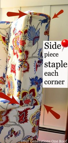 DIY Reupholstering tips and tricks. How to reupholster a chair with a staple gun. No Sew.