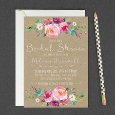 Rustic Floral Bridal Shower Invitation / Kraft Paper Country Bridal Shower Invite / Rustic Elegance Vintage Invite / Printable, DIGITAL FILE