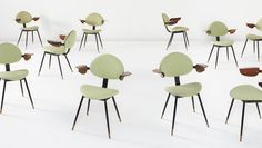 """CARLO MOLLINO Set of ten """"Lutrario"""" armchairs, from the Lutrario Ballroom, Turin, 1959-1960 Painted iron, brass, walnut-veneered bent plywood, fabric. Each: 29 1/4 x 24 3/8 x 21 1/2 in. (74.3 x 61.9 x 54.6 cm) Manufactured by Doro, Italy. Back of each chair with manufacturer's decal, four additionally with SC International paper label under seat."""