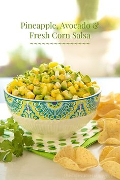 Pineapple, Avocado  Fresh Corn Salsa - Fresh, vibrant and versatile. Perfect for chips or with quesadillas, tacos, burritos, grilled entrees, etc.