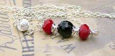 Ruby Quartz And Black Agate Necklace by BeadsMe on Etsy, $28.00