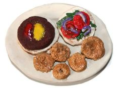 Hamburger and Onion Rings On a Plate Fake Food Magnet