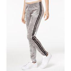 Ultra Flirt by Ikeddi Juniors' Velvet Leggings ($9.99) ❤ liked on Polyvore featuring pants, leggings, white leggings, stripe leggings, white striped leggings, striped trousers and velvet pants