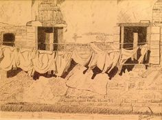 Venetian washing line, pen and ink