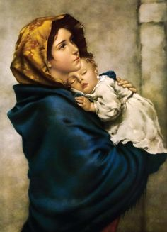 "One of the most beloved images of Our Lady, ""Madonna of the Streets"" depicts a youthful Mary holding the Child Jesus close to her heart. This hangs in our hallway Mama Mary, Catholic Store, Catholic Art, Religious Images, Religious Art, La Madone, Saint Esprit, Blessed Mother Mary, Mary And Jesus"