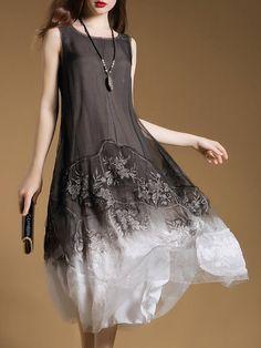 Gray Embroidered A-line Sleeveless Silk Midi Dress