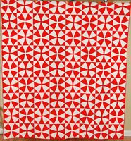 """OUTSTANDING Vintage 30's """"Winding Ways"""" Red & White Antique Quilt ~GREAT DESIGN!"""