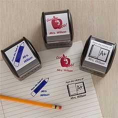 "Teacher Fun© Personalized Self-Inking Stamper - Perfect for grading papers, signing notes, or keeping track of the classroom library! Saves a bunch of time and money - you can personalize it with you or your teacher's name for only $24.95 at PMall! Choose from ""Good Job,"" ""From the Desk of,"" or ""From the Library of"" and pick a color (Black, Blue, Red, Purple and Green) #Teacher #School"