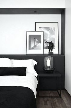 love the half wall with frames behind the bed.