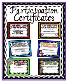 Enclosed is a colorful set of certificates for participants of all the various activities we have in school. #tpt#certificate#participation#teacherspayteacher