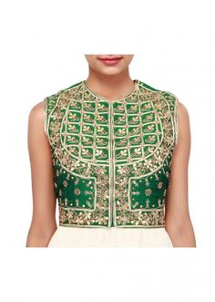 Green jacket blouse adorn in gotta patch work only on Kalki Zardosi Embroidery, Green Jacket, Patches, Saree, Silk, Blouse, Jackets, Tops, Women