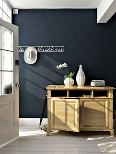 deep charcoal navy wall- wish I knew the name of the paint & brand