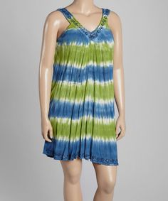 This Blue & Lime Tie-Dye Stripe Yoke Dress - Plus by India Boutique is perfect! #zulilyfinds
