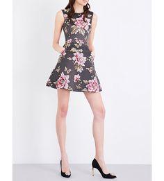 120557935 TED BAKER Kinella floral-jacquard skater dress