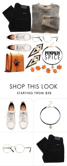 """""""Pumpkin Spice Style"""" by may-calista ❤ liked on Polyvore featuring H&M, Cara, Oliver Peoples, BURAK UYAN, Nudie Jeans Co., Fall and pss"""