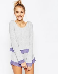Image 1 of ASOS Lace Trim Long Sleeve Tee & Short Pajama Set