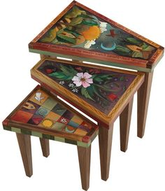 What a girl wants ~ I want these adorable Nesting Tables by Sticks Sticks Furniture, Tiny Furniture, Hand Painted Furniture, Deco Furniture, Repurposed Furniture, Unique Furniture, Furniture Makeover, Painted Chairs, Wood Art