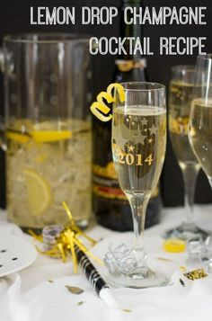Lemon Drop Champagne Cocktail Recipe! See more party ideas at CatchMyParty.com. #newyearseve #champagne