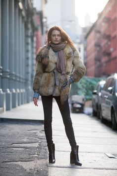 black skinnies-black ankle boots-ankle booties-fur jacket-belted jacket-scarf-denim jacket shirt-winter outfit-what to wear when freezing