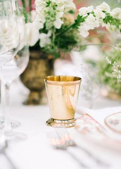 Gold cup: http://www.stylemepretty.com/little-black-book-blog/2015/01/26/elegant-brookgreen-garden-wedding-inspiration/ | Photography: Pasha Belman - http://www.pashabelman.com/