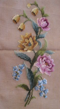 Vintage pre-worked needlepoint. Rose by LegacyTextileCrafts