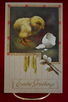 Vintage Postcard, Easter Postcard, Holiday Postcards, Antique Postcard, 1909s, Easter Chick, Animal Postcard, Easter Ephemera, Epsteam by TreasureRelocators on Etsy