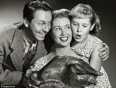 They're really, really happy that the Thanksgiving bird is ready. :) #vintage #Thanksgiving #holidays #1950s #turkey