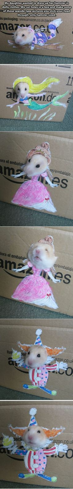 Quality parenting. Hamster 'clothes.'