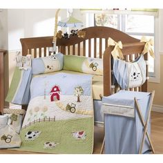 Green My Little Farm 3 Piece Crib Bedding Set By Bebe Star Baby Essentials