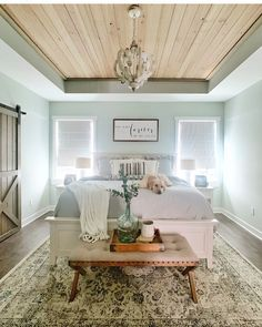 The Best Farmhouse Decor on a Budget - DIY Darlin' - - Today I am sharing with you some of the best farmhouse decor on a budget for each room in your home! Bedroom Tv Wall, Bedroom Ceiling, Bedroom Decor, Bedroom Ideas, Ceiling Decor, Bedroom Inspo, Bedroom Inspiration, Modern Farmhouse Bedroom, Farmhouse Decor