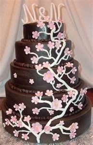 Brown cake and pink flowers.....with a J & K???