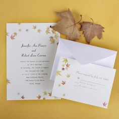 $1 ivory and yellow maple leaves fall cheap wedding invitations for fall weddings EWI068
