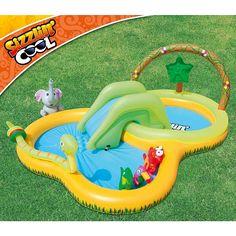 Piscina Sizzlin Cool a selva com escorrega está personalizada com o tema da selva e inclui alguns animais da selva. Permite às crianças disfrutarem dos dias quentes de verão, enquanto mergulham na Piscina.