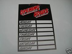 opening hours sign   eBay