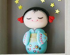 Polymer clay miniature doll, Kokeshi doll, OOAK doll, Polymer clay figurine